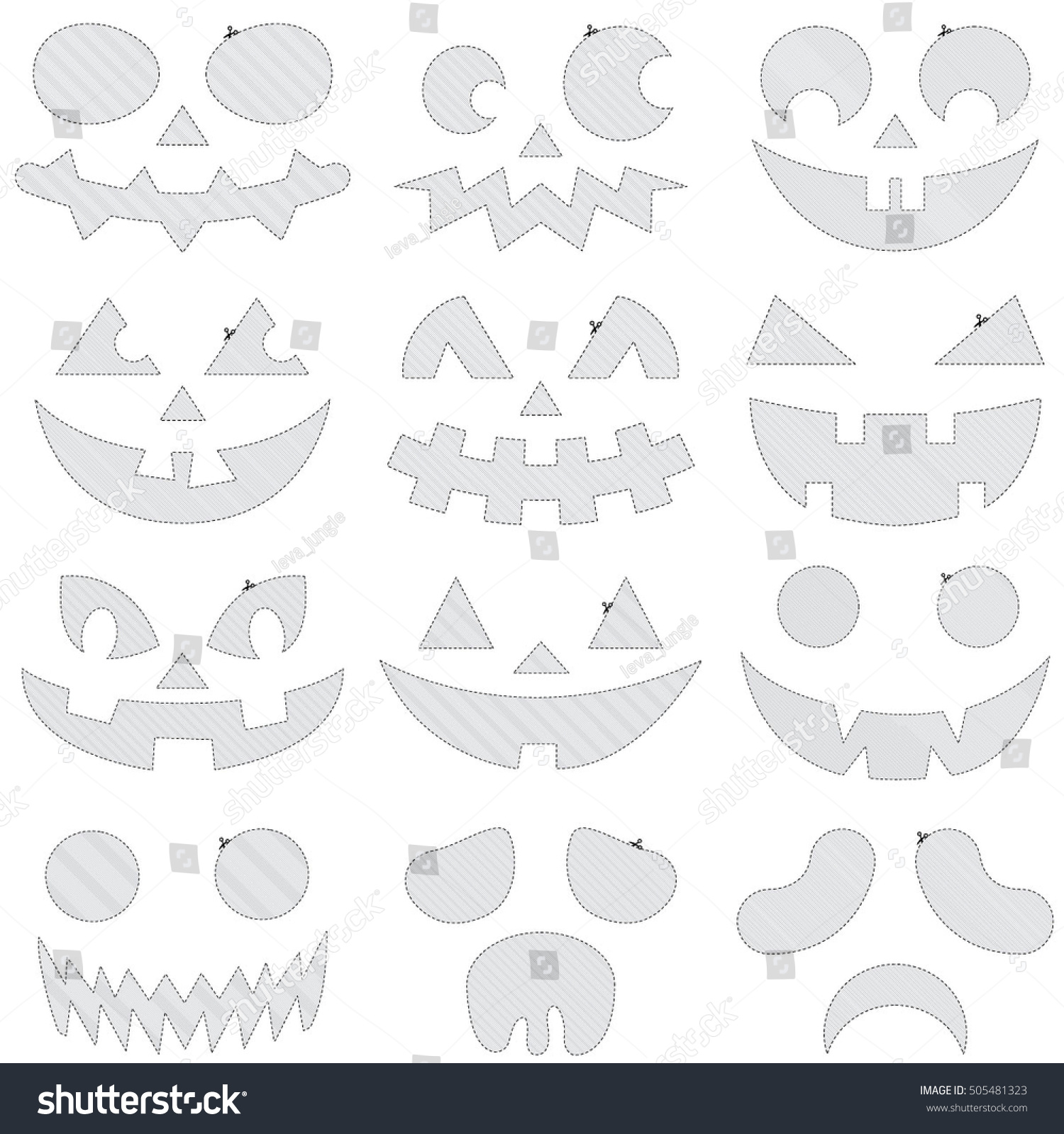 Collection Halloween Pumpkins Template Variety Eyes Stock Vector ...