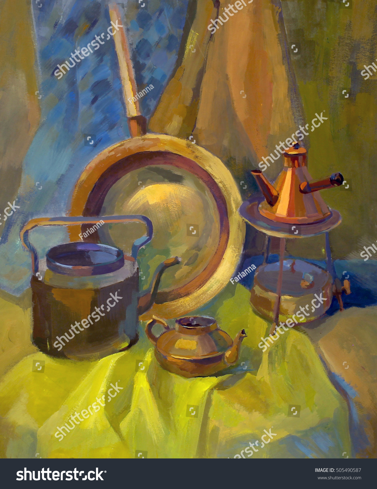 Beautiful Still Life With Realistic Metal Things Oil Painting Canvas Poster