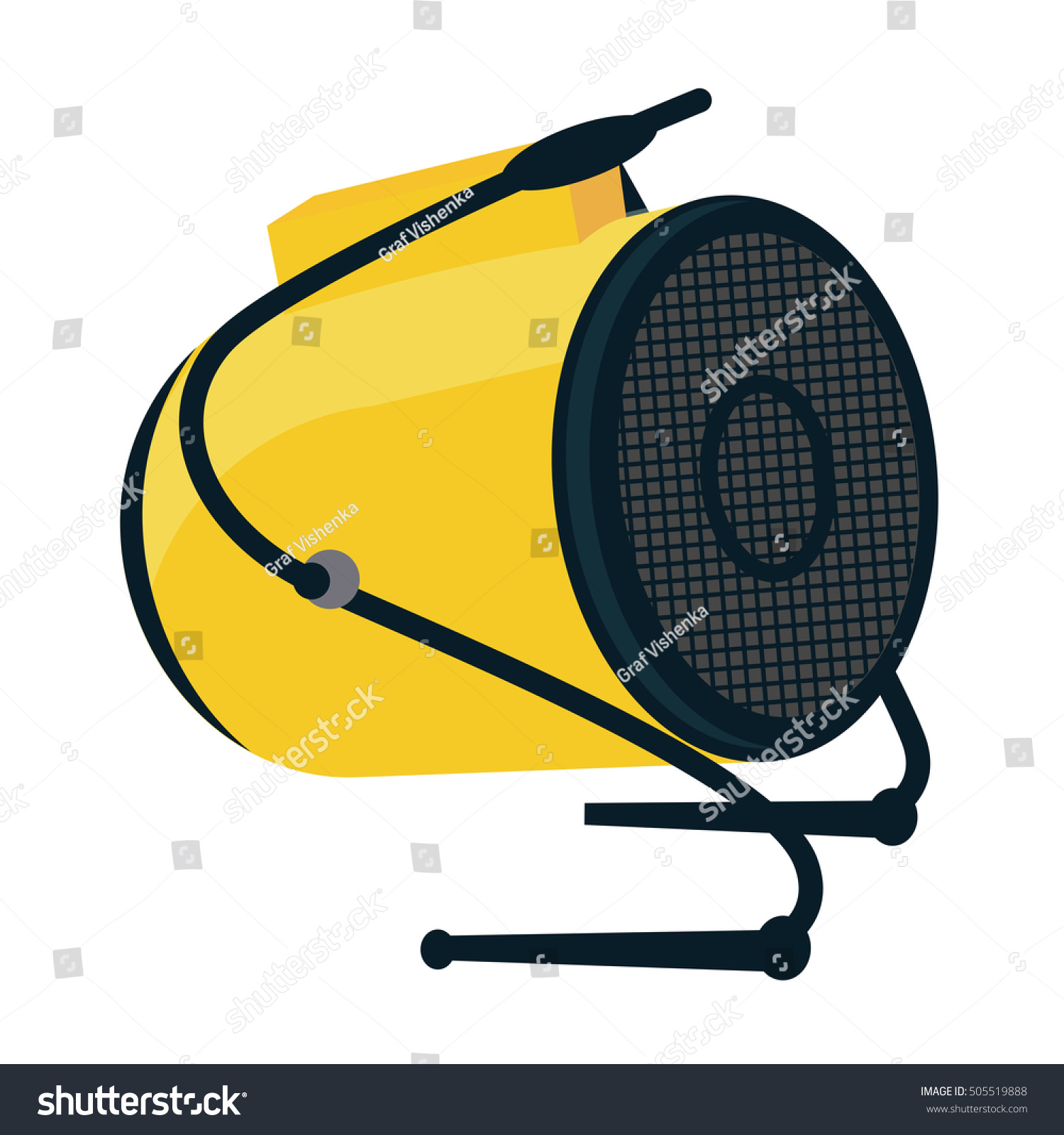 Industrial Electric Fan Heater Icon Construction Stock Vector