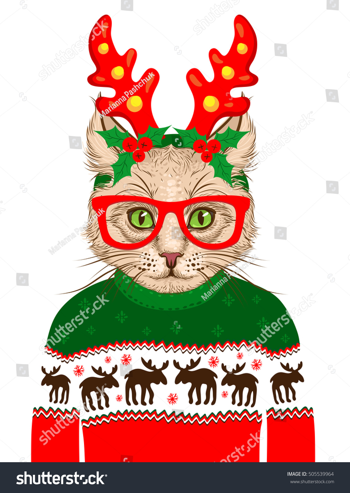 christmas greeting card with hipster cat on white background happy new year vector holiday