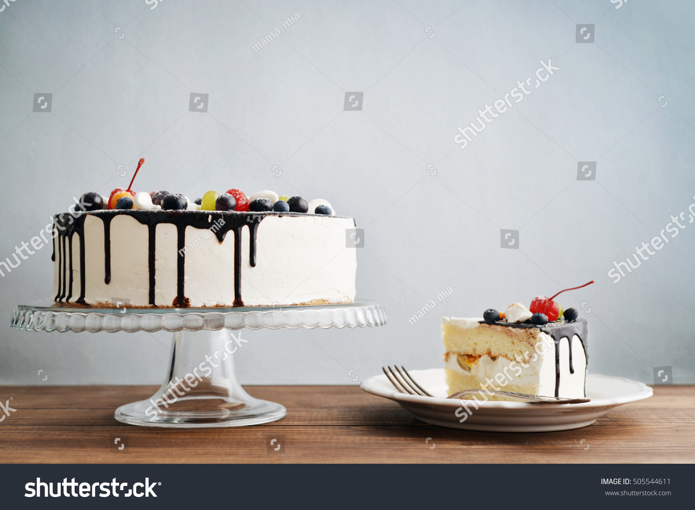 Fruit Birthday Cake Cake Slice Over Stock Photo Edit Now 505544611