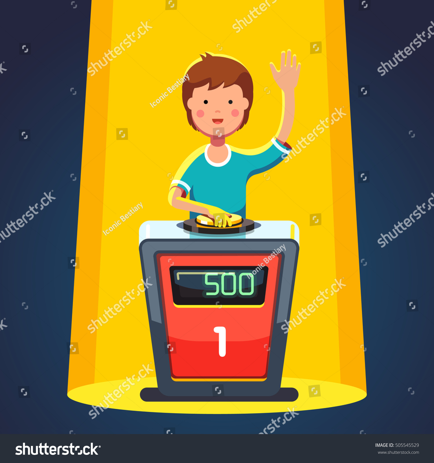 School Kid Playing Quiz Game Answering Stock Vector Royalty Free Player Buzzer Circuit Diagram Question Standing At The Stand With Button Boy Pressed