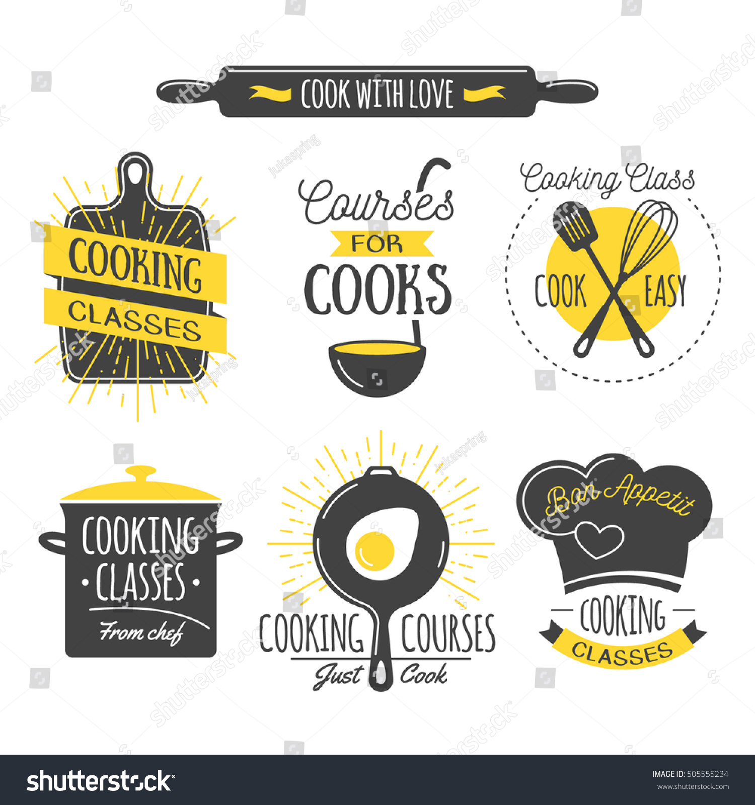Cooking Class Vintage Design Elements Kitchen Stock Vector 505555234 Shutterstock