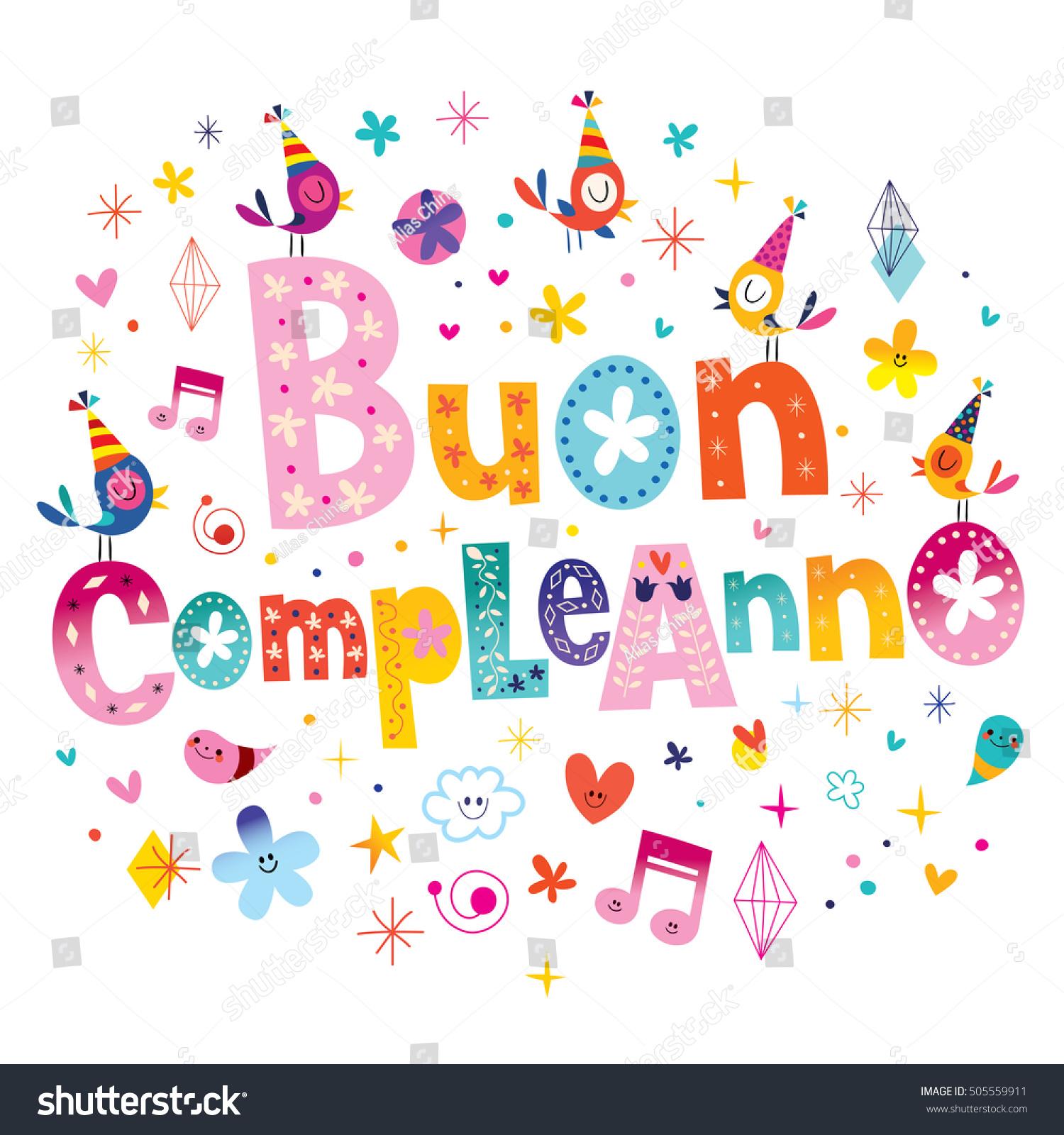 Buon Compleanno Happy Birthday Italian Greeting Stock