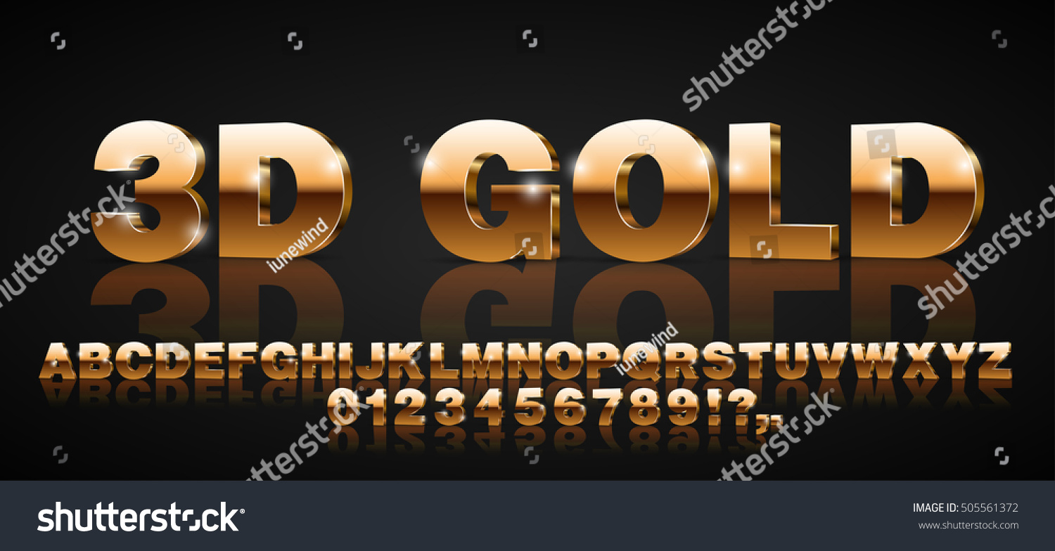 Gold metallic style 3d vector extruded font set #505561372