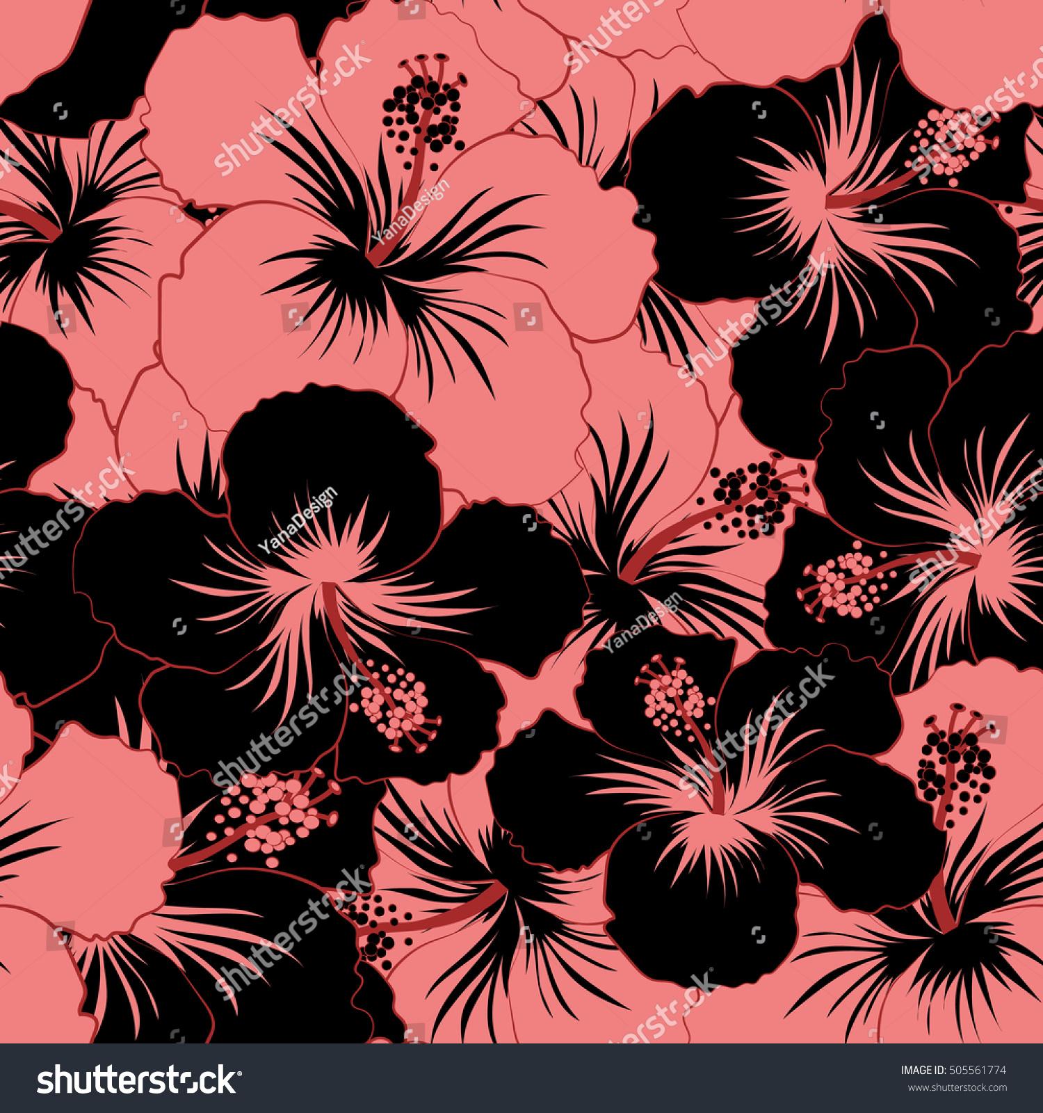 Vector Illustration Black Pink Hibiscus Flowers Stock Vector