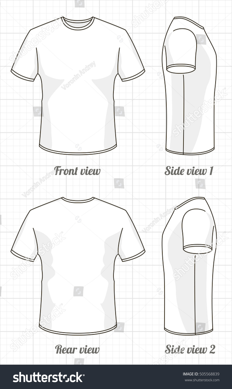 Tshirt Template Set Front Side Back Stock Vector 505568839 ...