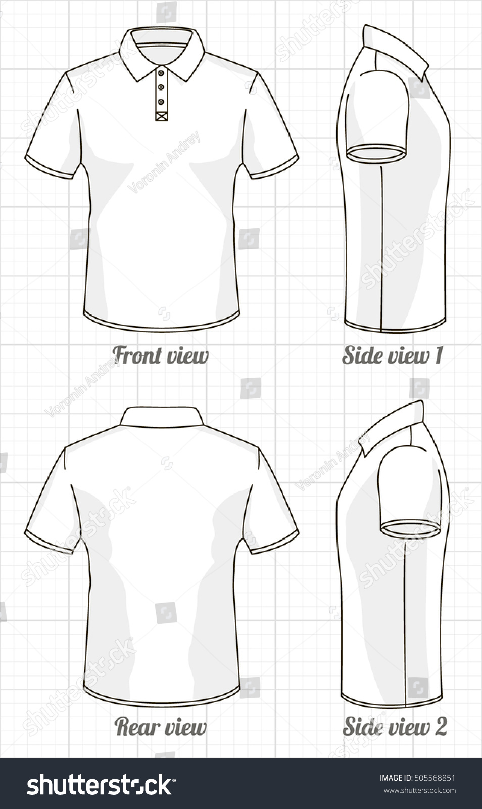 Tshirt Polo Template Set Front Side Stock Vector 505568851 ...