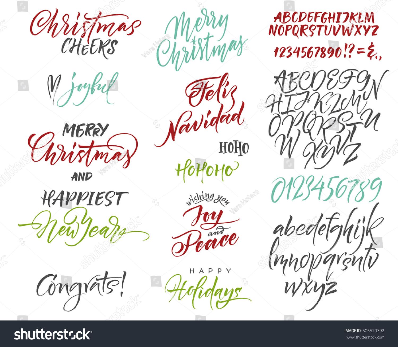 Vector Alphabet Christmas New Year Congrats Stock Vector Royalty