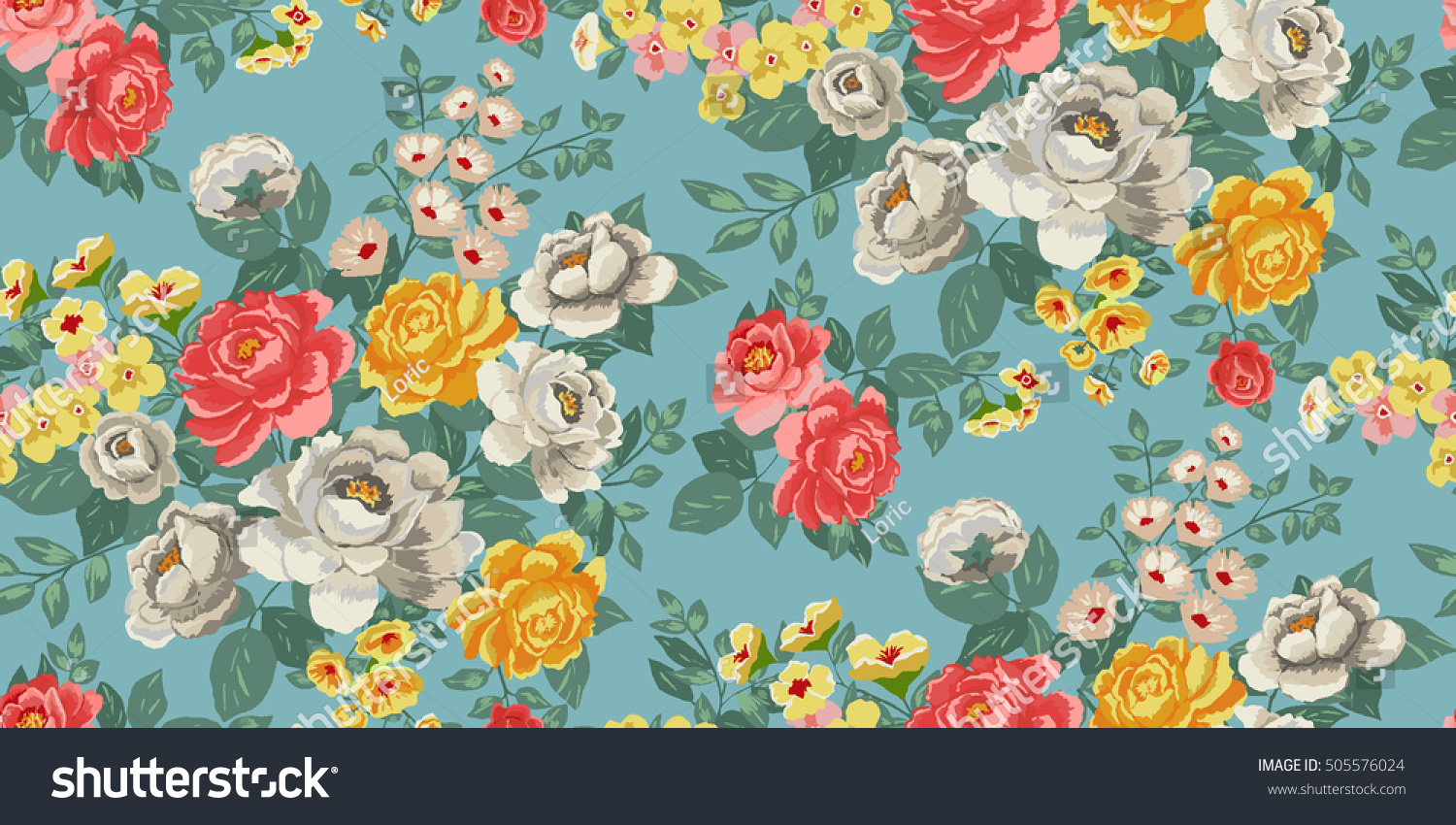 Classic Wallpaper Seamless Vintage Flower Pattern Stock Vector Royalty Free 505576024