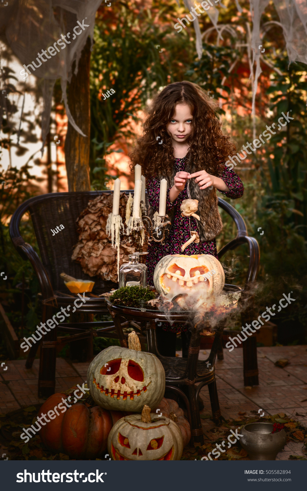 Happy Halloween Concept Cute Little Witch Stock Edit