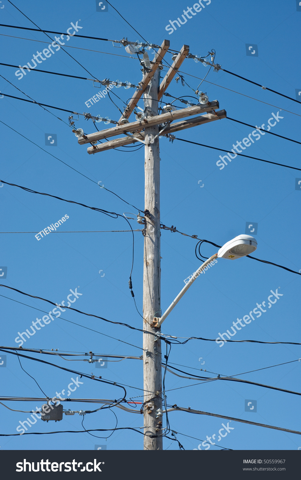 Wood Power Poles Sizes : Wooden telephone pole with power lines and light stock