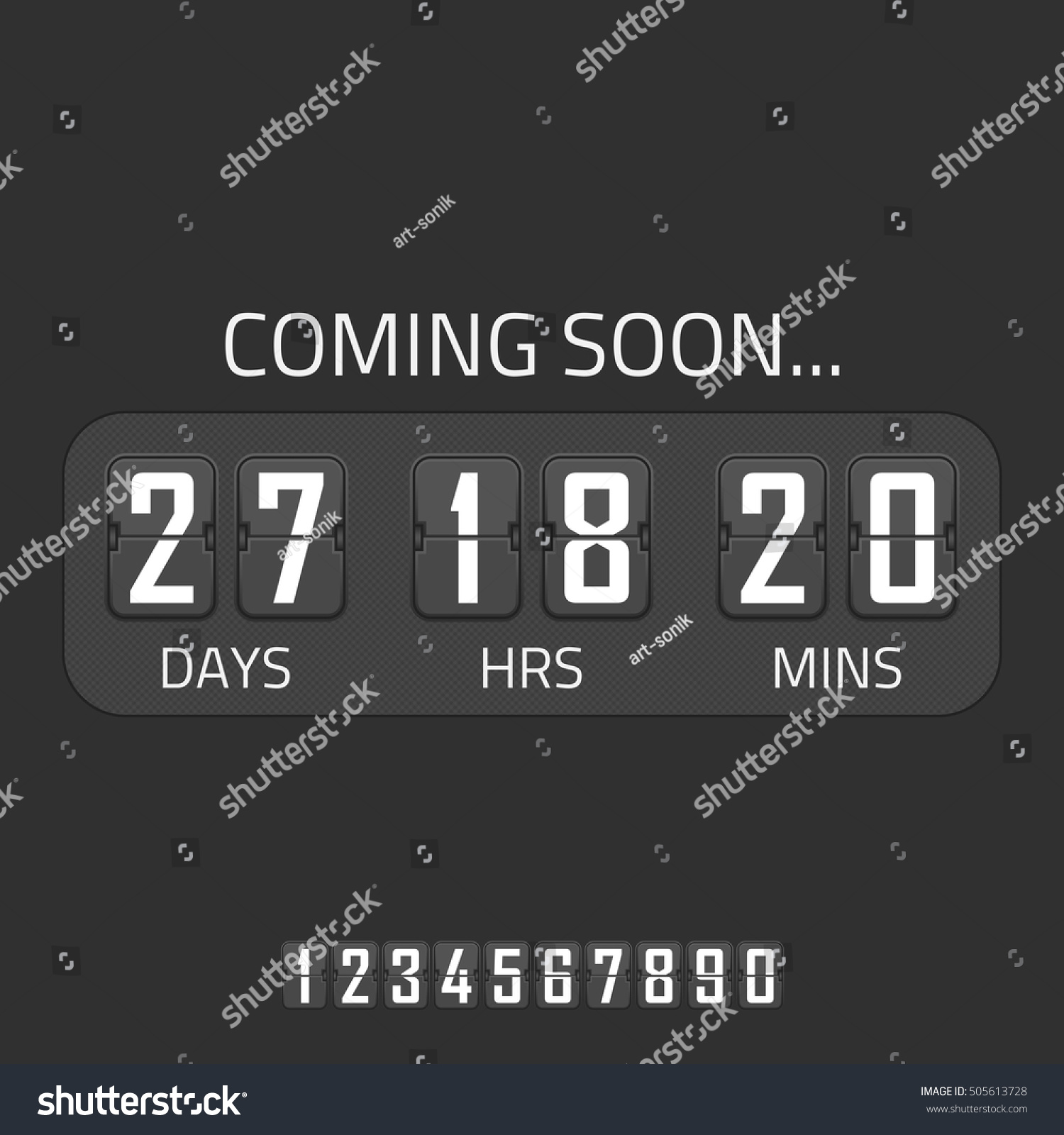 Flip Coming Soon Illustration Countdown Timer Stock Vector Royalty