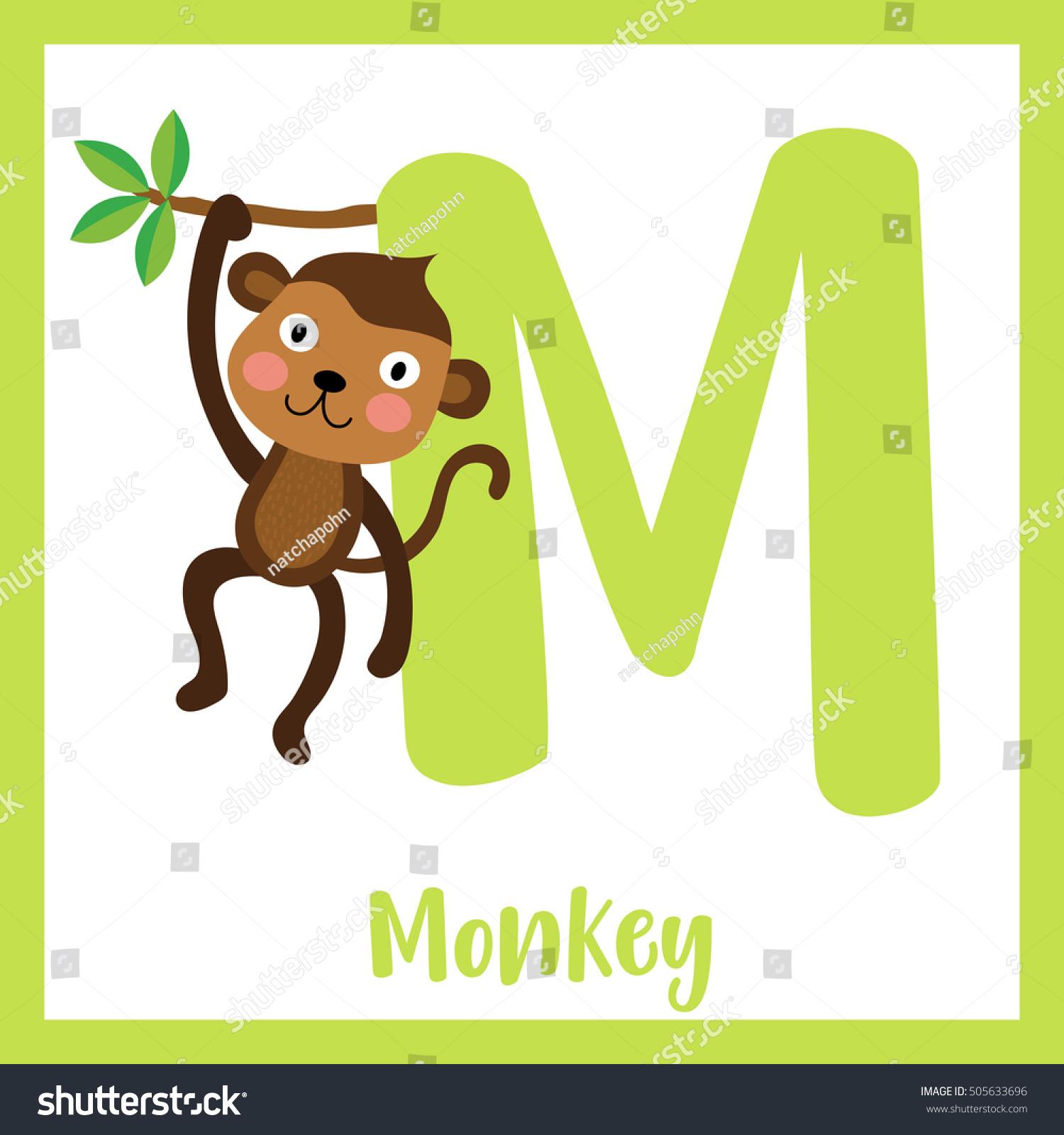 cute children abc animal alphabet m stock vector 505633696