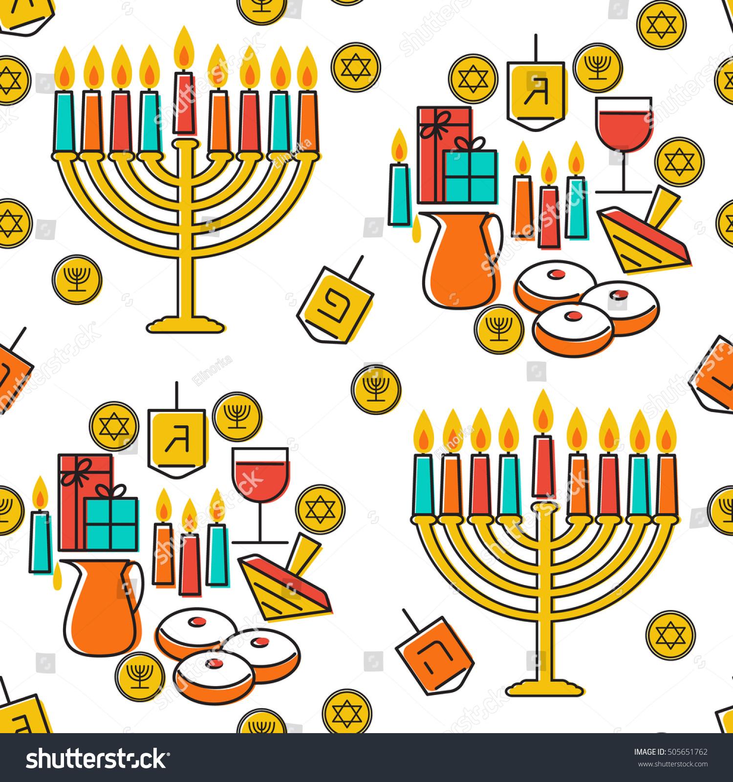 Uncategorized Chanukah Symbols hanukkah seamless pattern jewish holiday stock vector symbols menorah candlestick candles