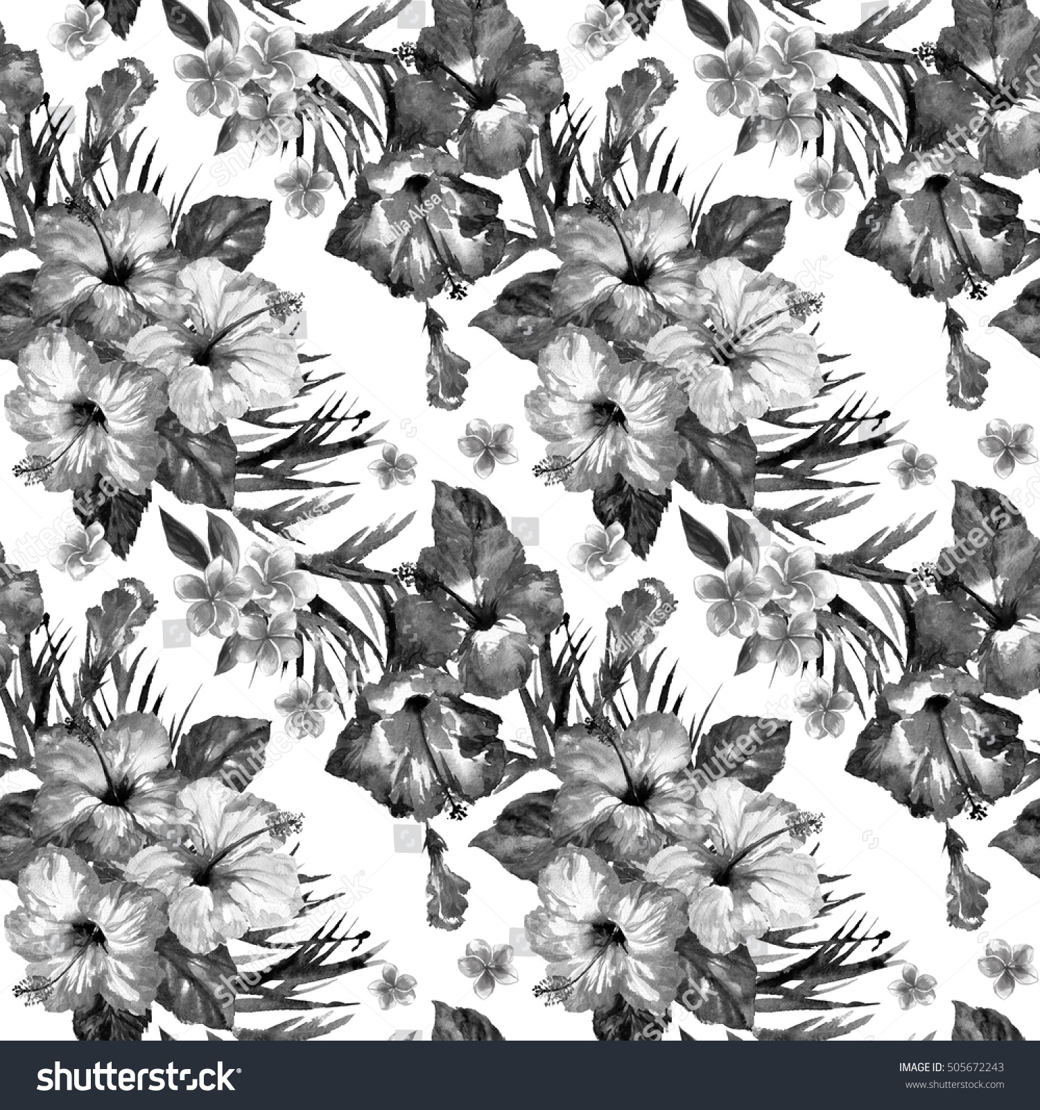 Aloha floral pattern tropical bouquets background blossom flowers black and white color watercolor drawing