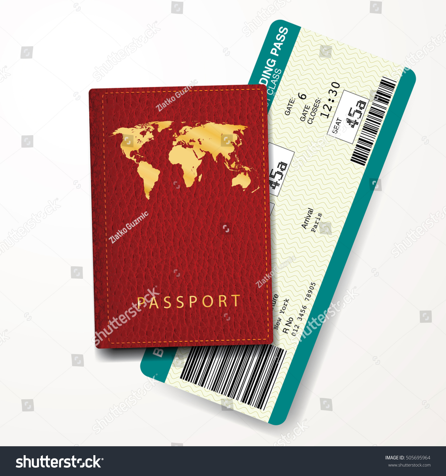 red passport cover with boarding pass vector illustration Paris New York ticket