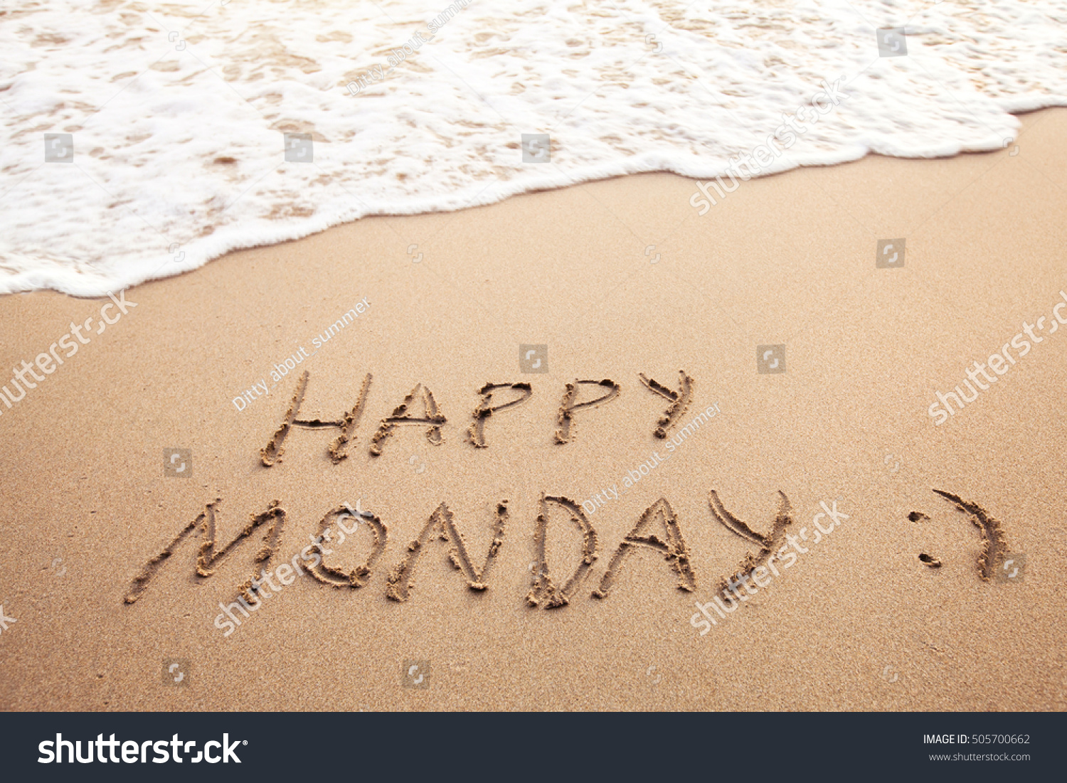 Happy Monday Greeting Card On Sandy Stock Photo Edit Now 505700662