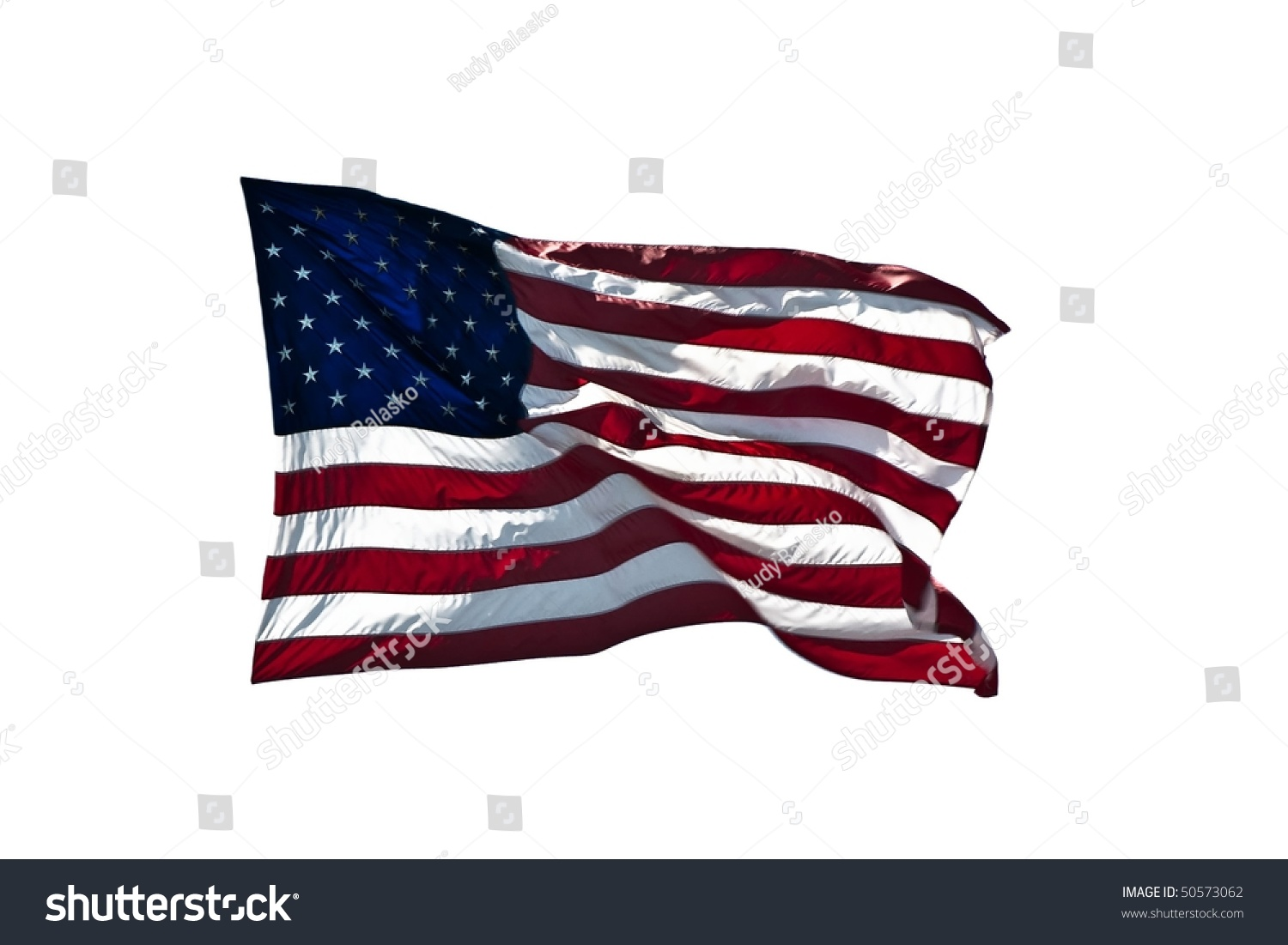 American Flag Waving In The Wind. Stock Photo 50573062 ...