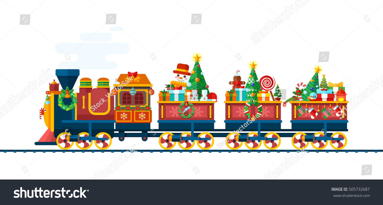 Christmas Toys Art : Stock vector isolated illustration christmas train
