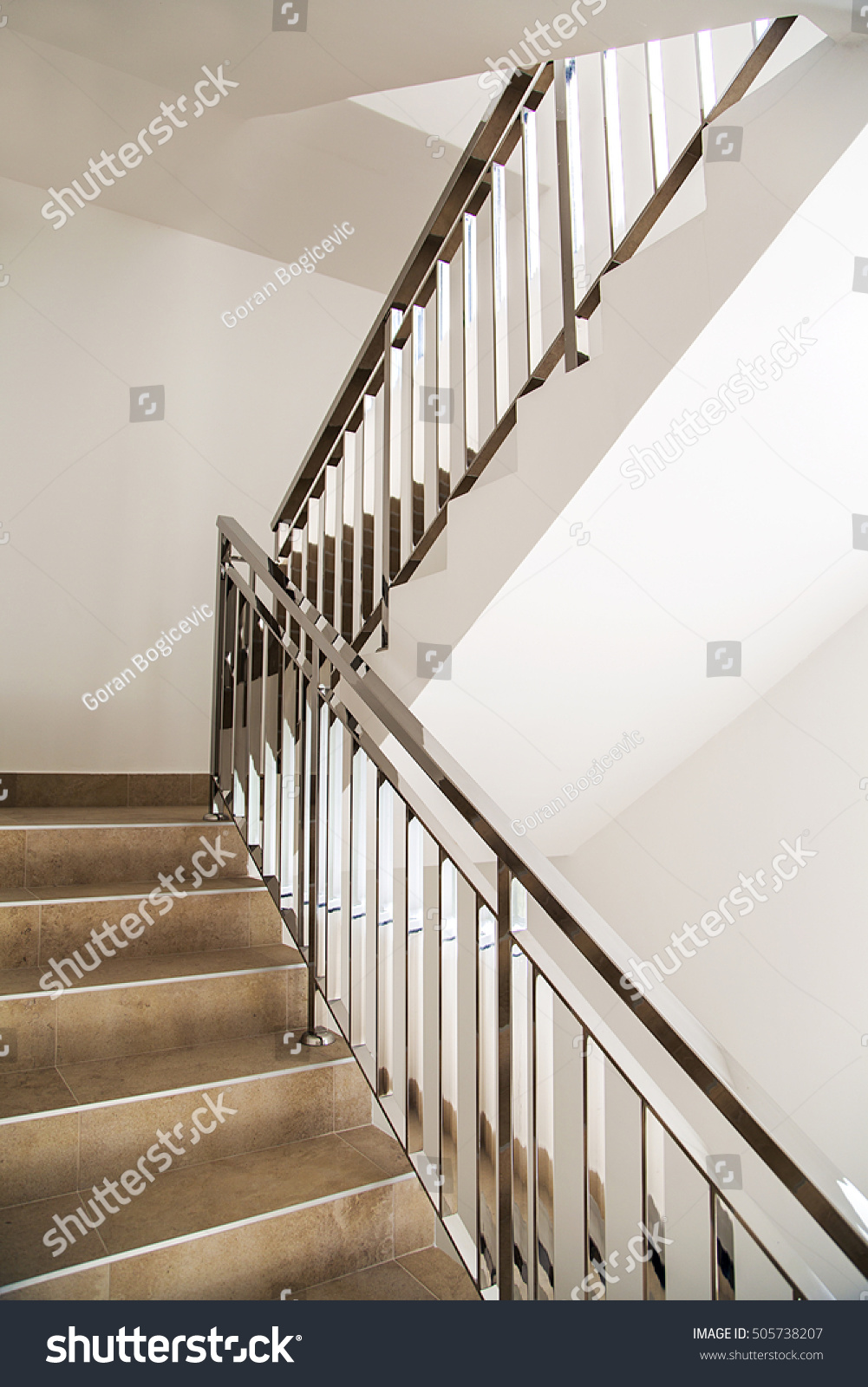 Interior Of Stylish Modern House View The Stairs