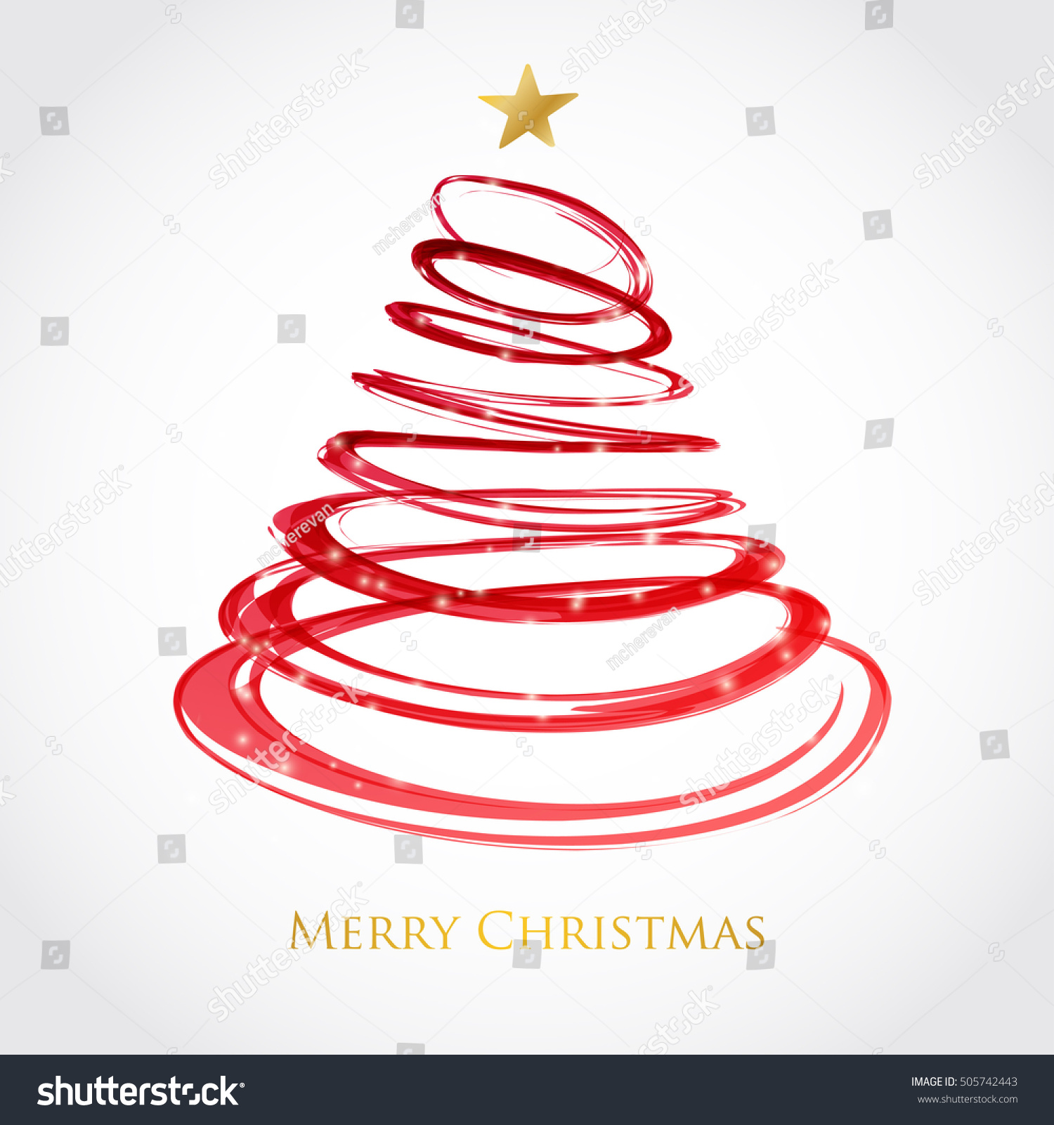 christmas tree red spiral star on stock vector 505742443