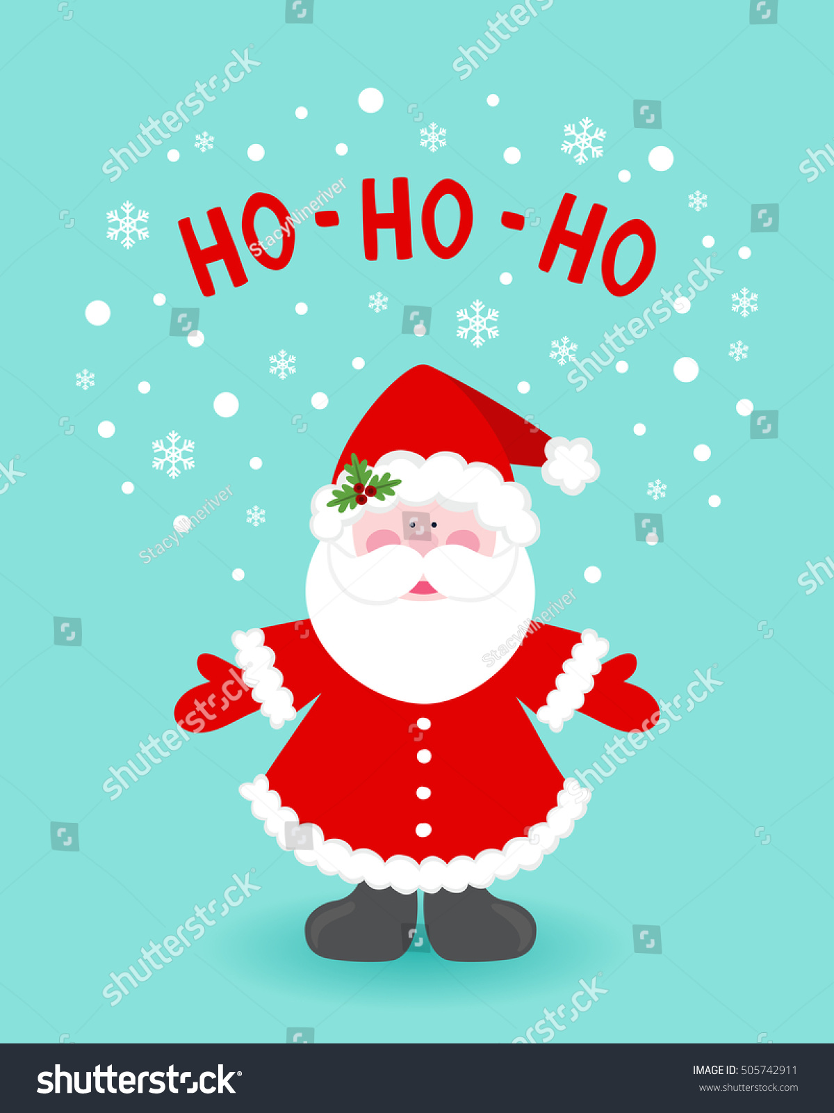Christmas Card Santa Claus Vector Illustration Stock Vector Royalty Free 505742911