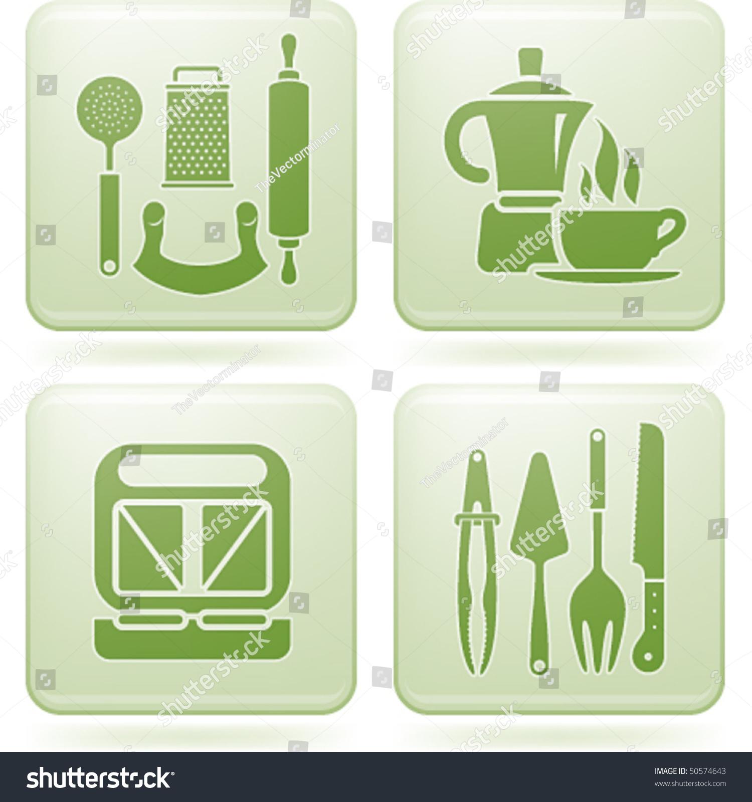 Cobalt square 2d icons set kitchen utensils stock vector for Kitchen set 2d