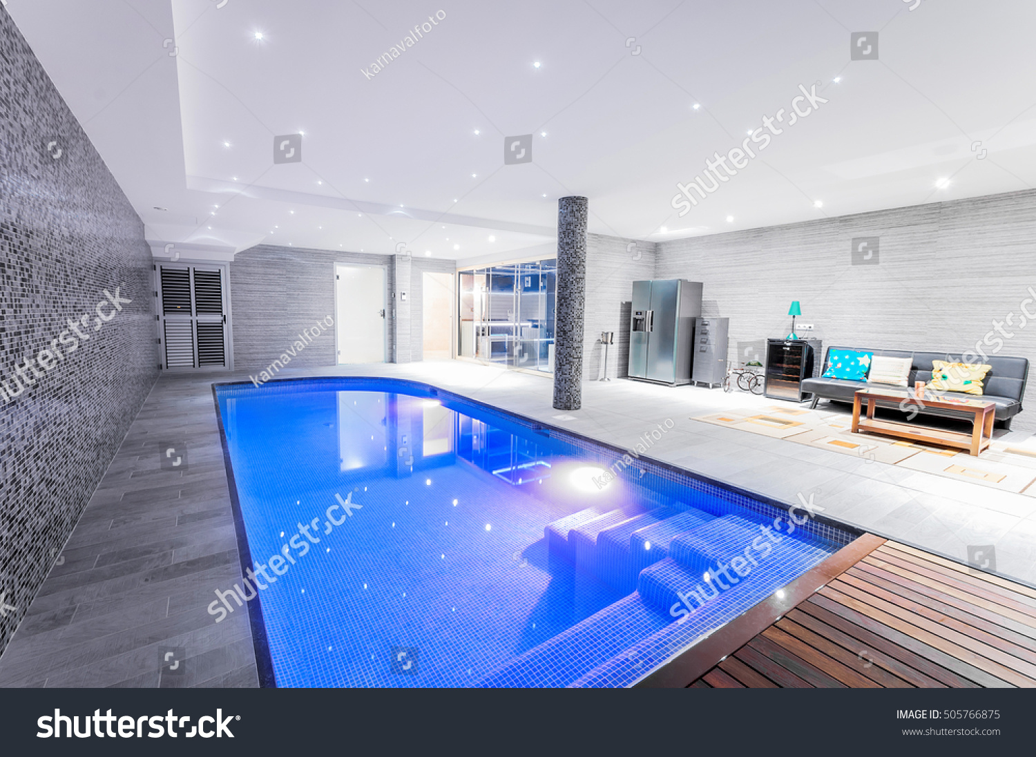 indoor swimming pool lighting. Relaxing Indoor Swimming Pool With Lighting And A Corner For Rest. Luxury Resort O