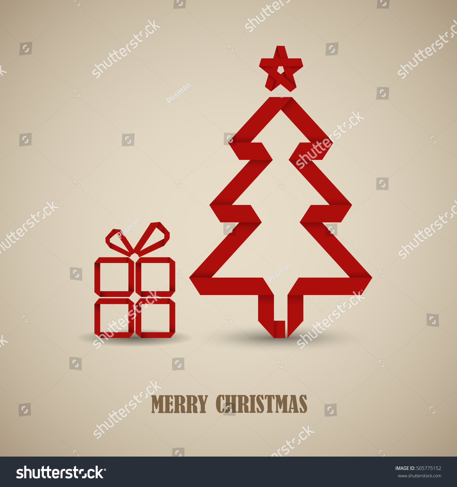 Christmas Card Folded Red Paper Tree Stock Vector Royalty Free