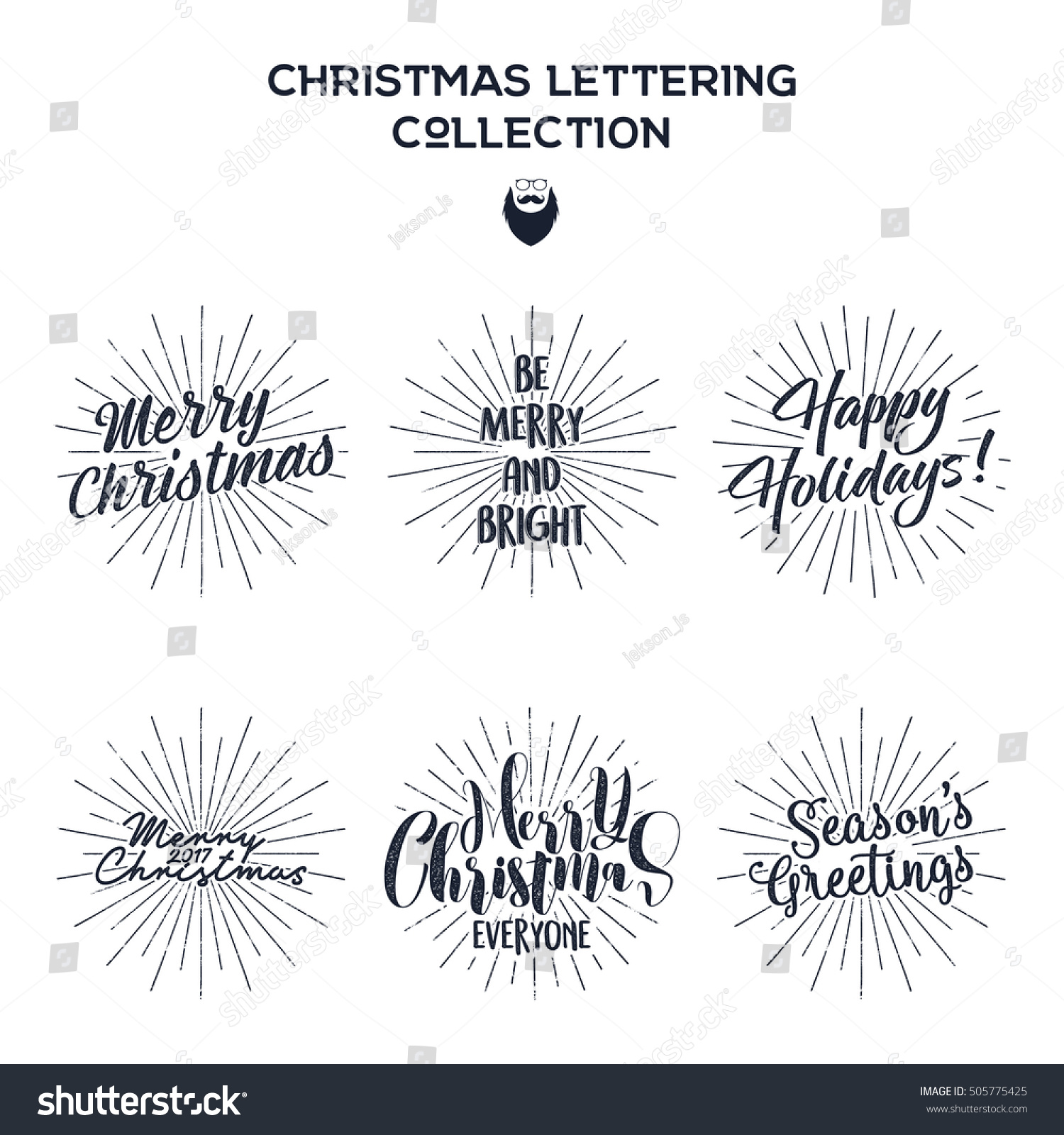 Set Christmas New Year 2017 Lettering Stock Vector Royalty Free