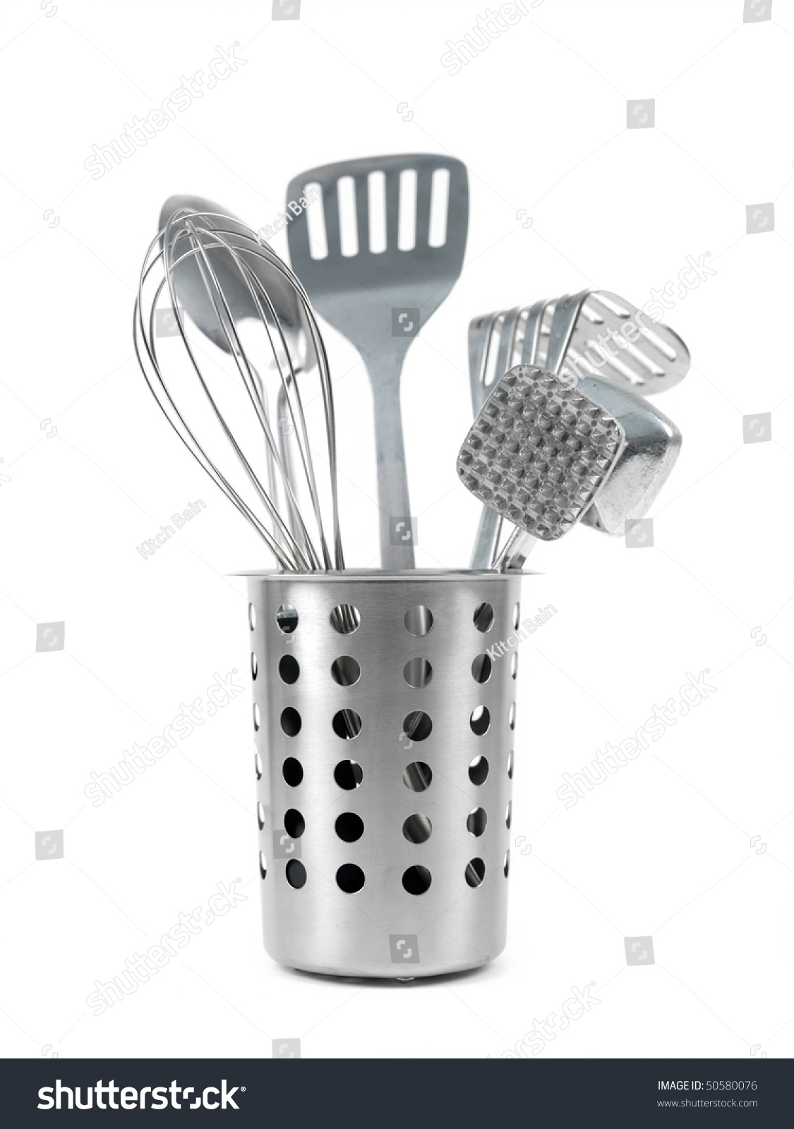 Kitchen Utensils Utensil Holder Isolated Against Stock Photo ...