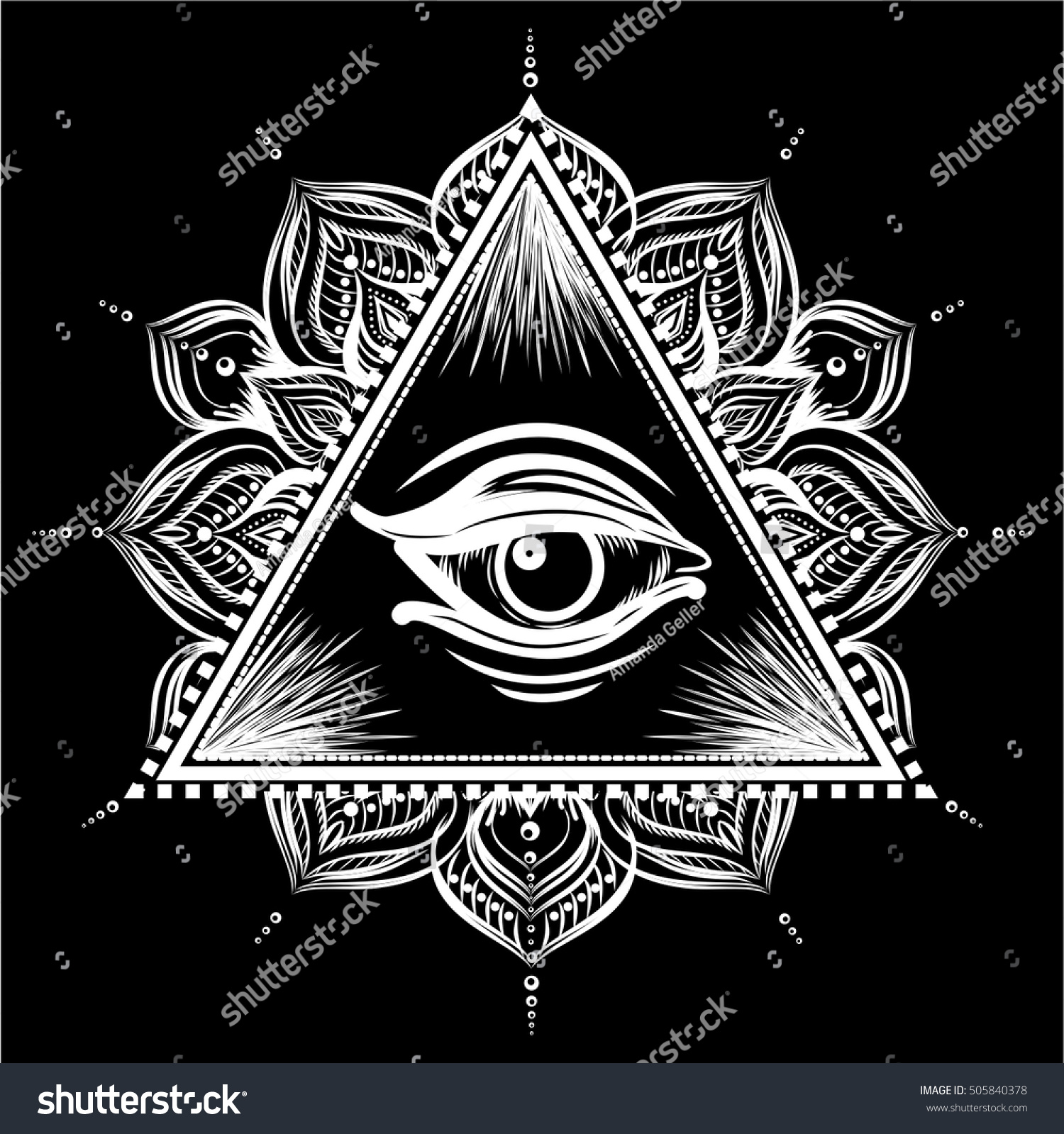 All Seeing Eye Pyramid Symbol Floral Stock Vector Royalty Free
