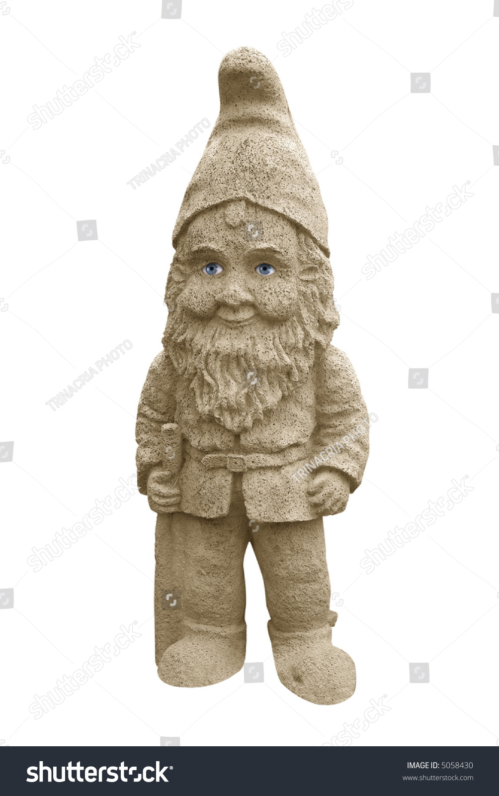 Real Gnomes: Garden Gnome With Real Eyes Isolated Over White With A