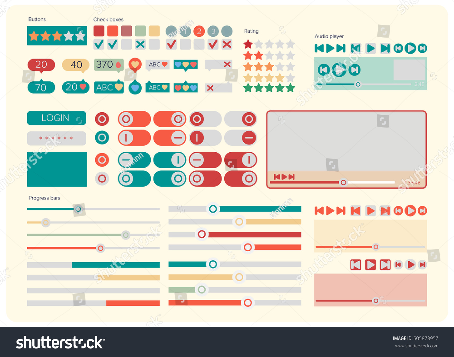 web ui kit elements flat design stock vector royalty free