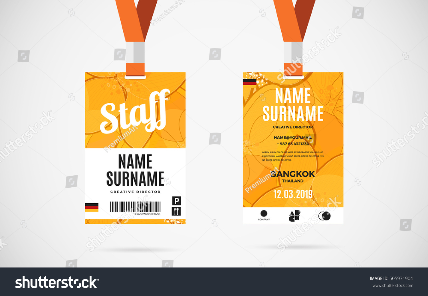 Event Staff Id Card Set Lanyard Stock Vector Royalty Free