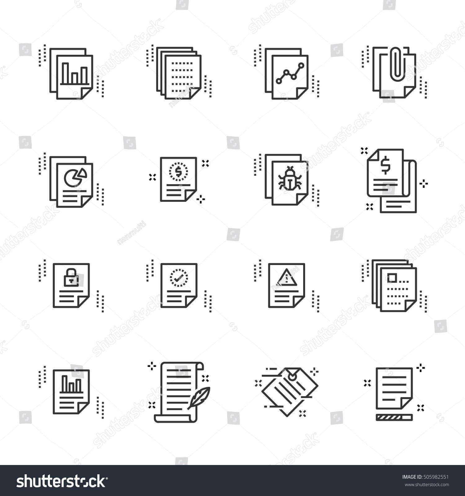 Report Related Simple Vector Line Icons Stock-vektorgrafik 505982551 ...