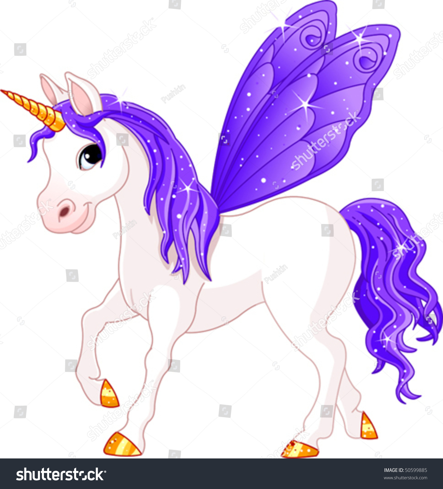 Violet Cute Winged Horse Of Fairy Tail. (Rainbow Colored