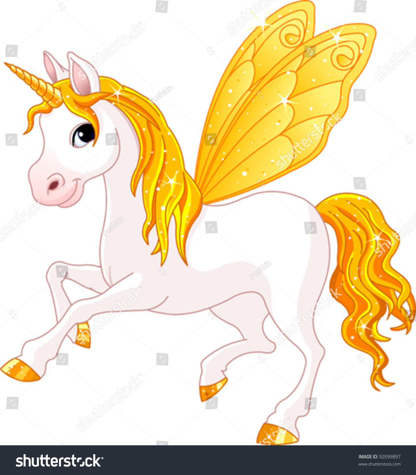 Yellow Cute Winged Horse Fairy Tail Stock Vector 50599897
