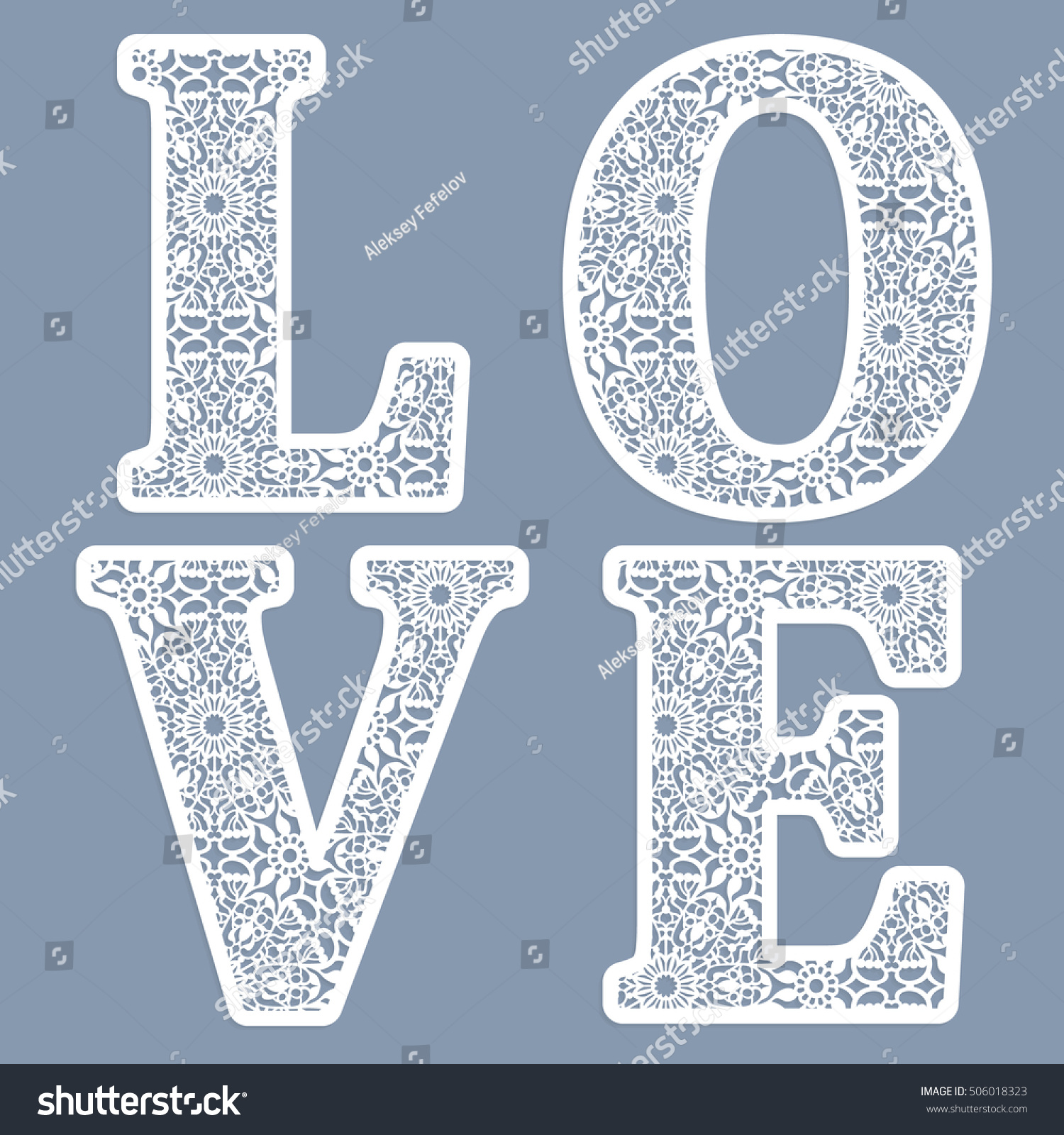 Templates Cutting Out Letters Word Love Stock Photo Photo Vector