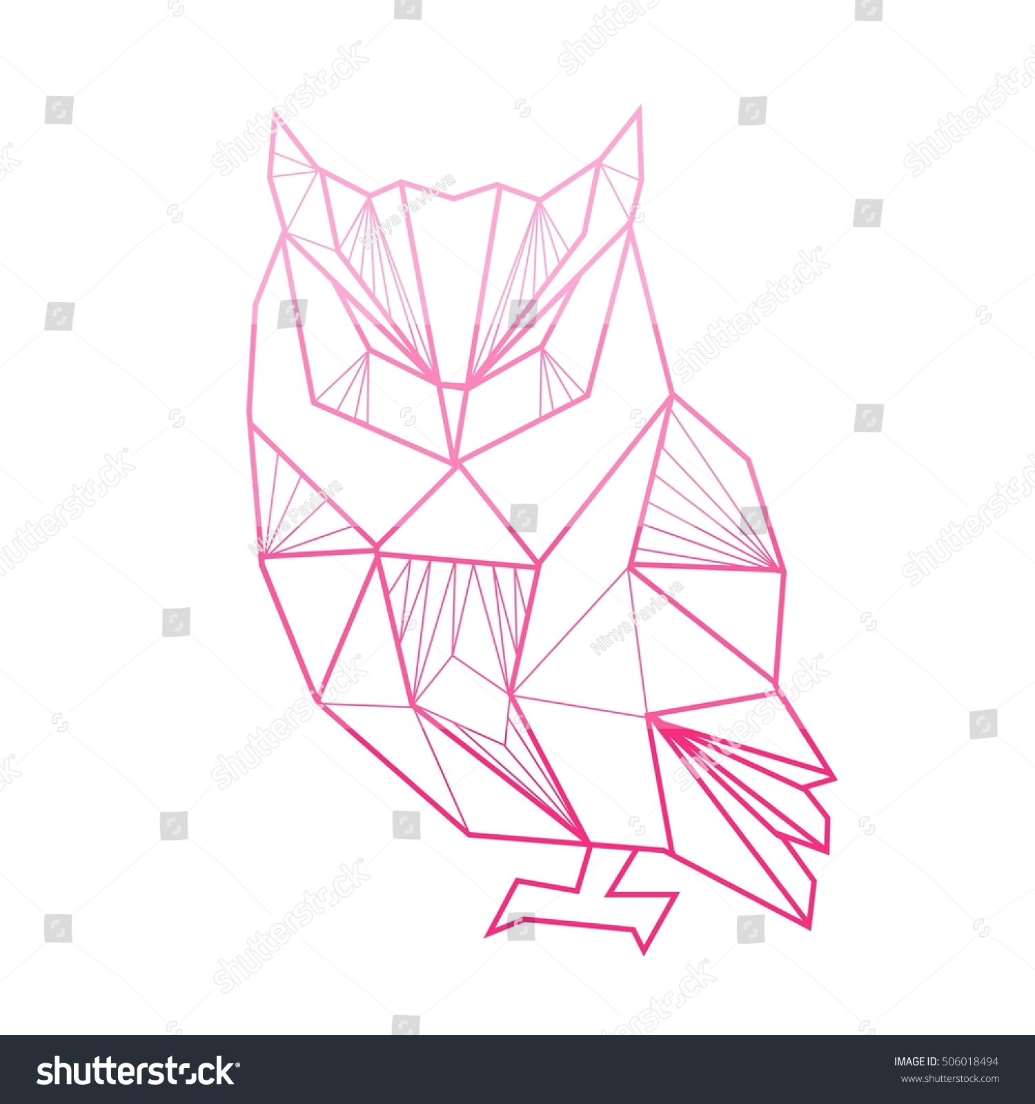 Vector Polygonal Illustration Geometric Owl Gradient Stock ... - photo#14