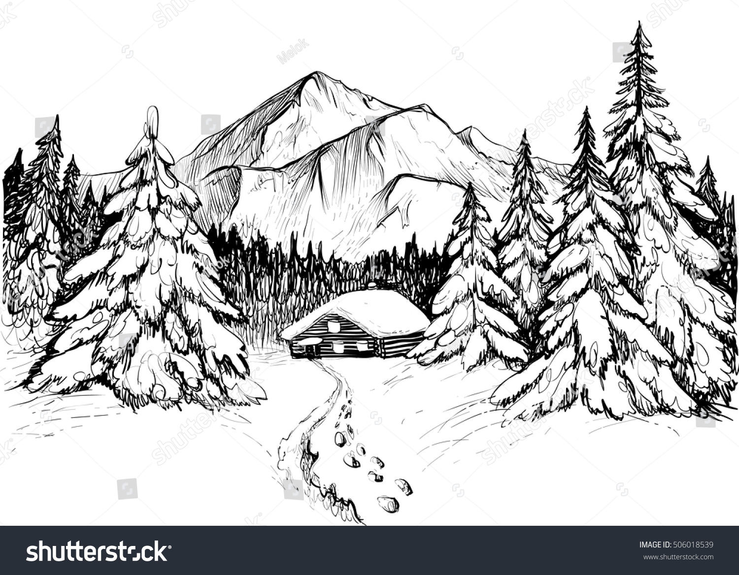 Royalty Free Winter Forest In Mountains Sketch