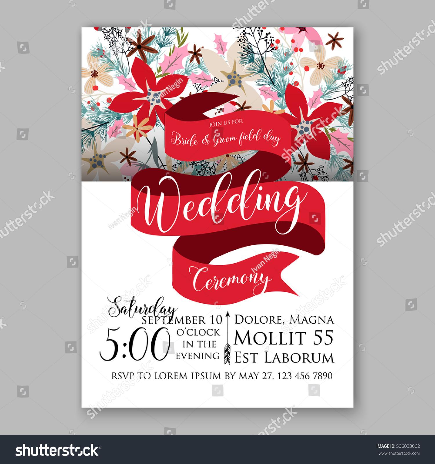 Poinsettia Wedding Invitation Sample Card Beautiful Stock Vector ...