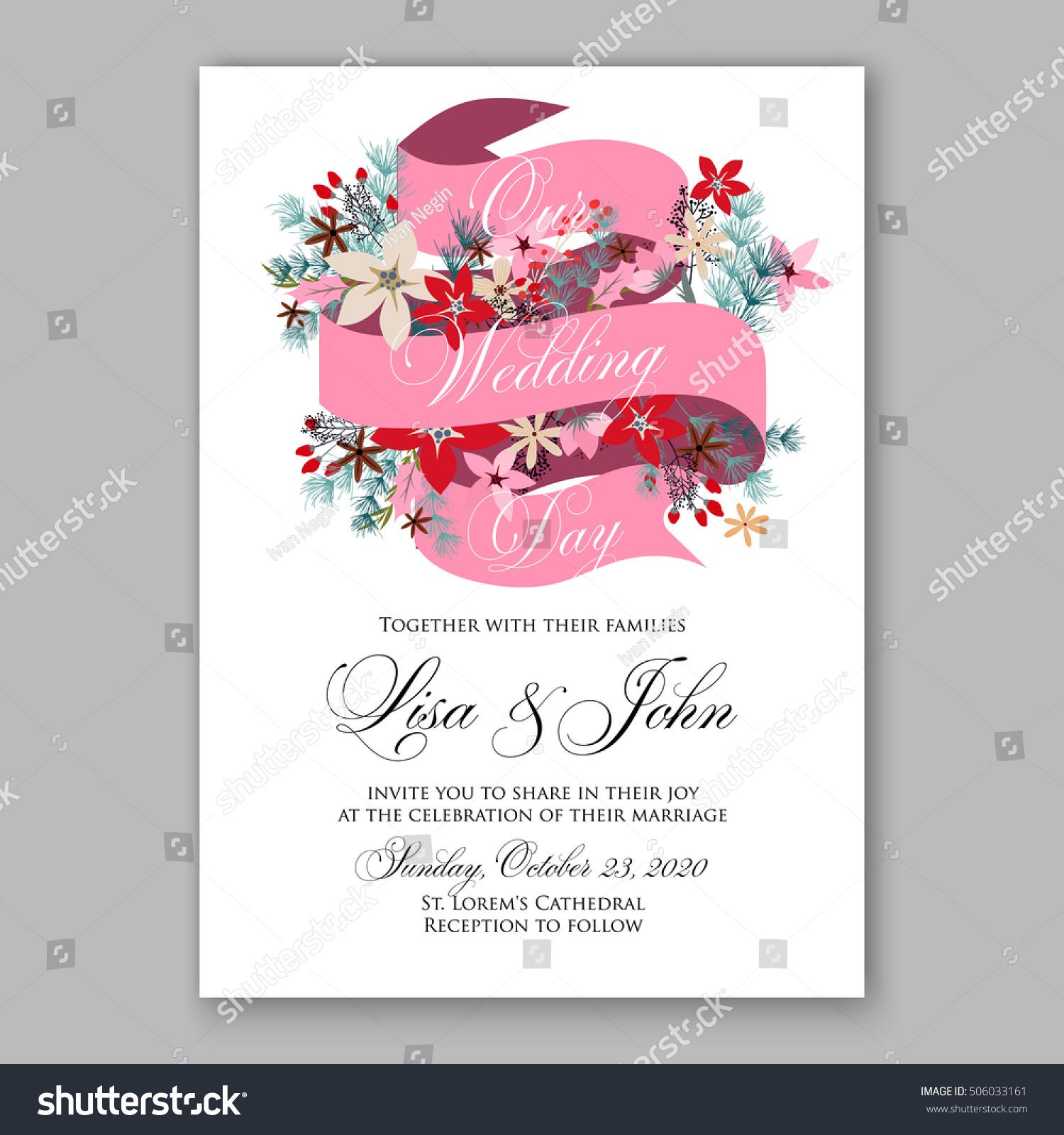 Poinsettia wedding invitation sample card beautiful stock vector poinsettia wedding invitation sample card beautiful stock vector 506033161 shutterstock stopboris Choice Image