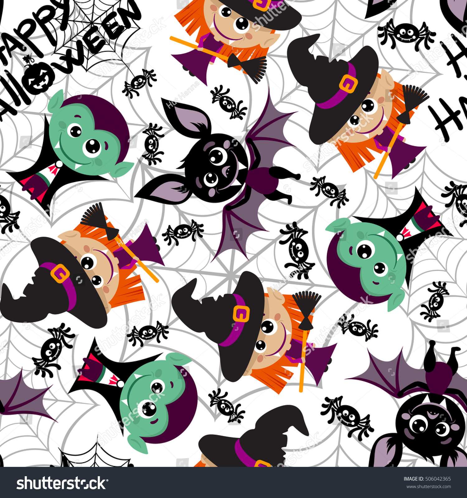 seamless pattern characters halloween cartoon style stock vector