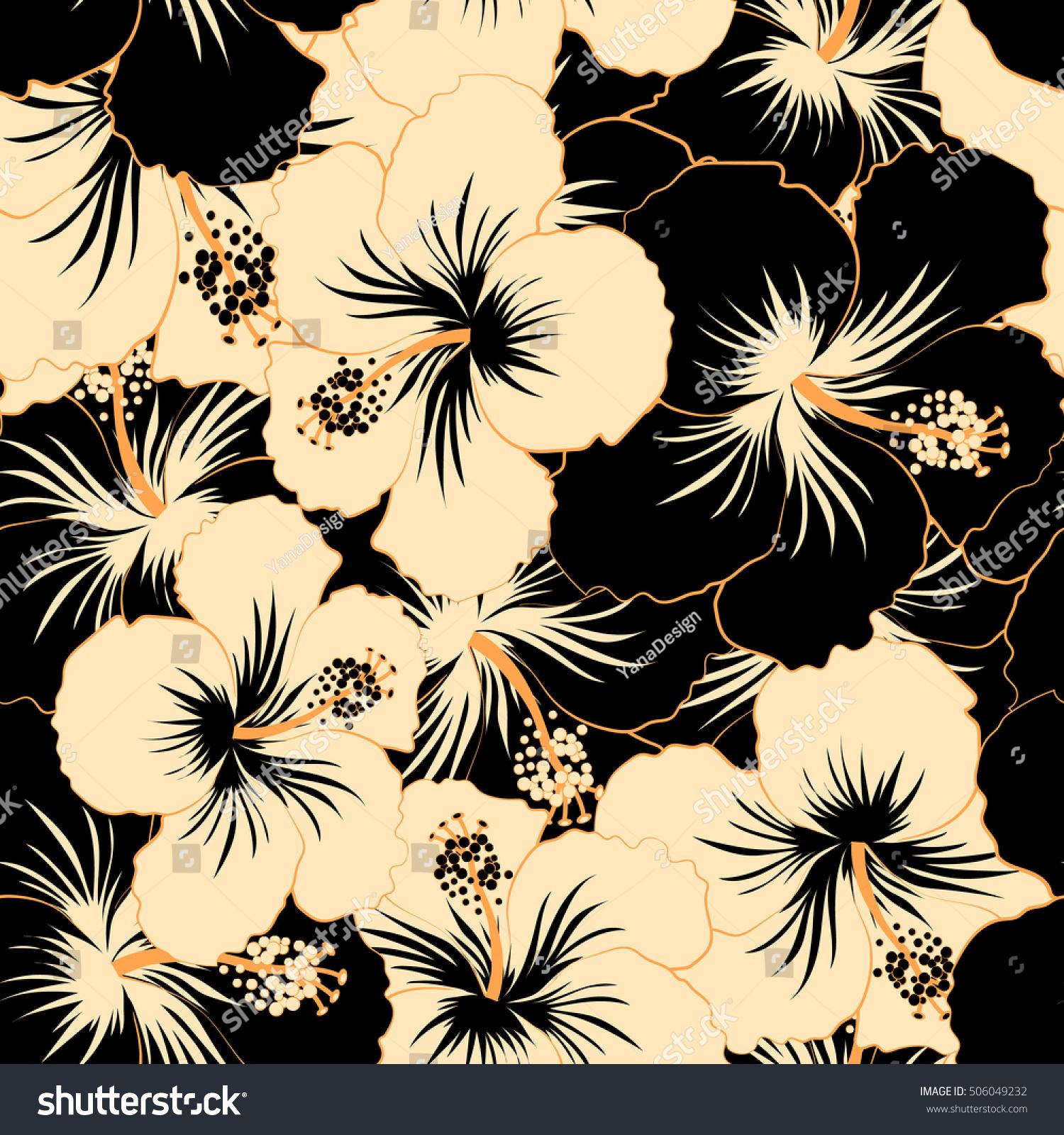 Vector illustration beige black hibiscus flowers stock vector vector illustration of beige and black hibiscus flowers seamless pattern with beige and black flowers izmirmasajfo