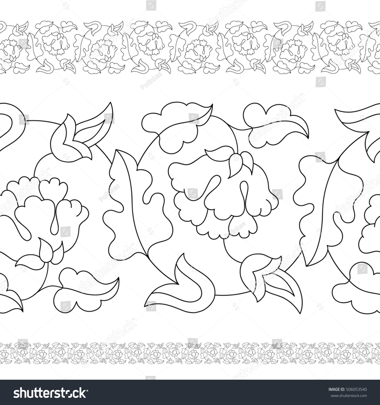 Indian Seamless Border Floral Paisley Pattern Stock Vector (Royalty ...