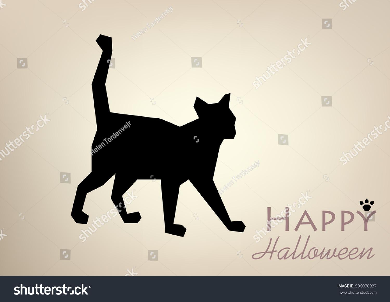 Template Postcardcardposterbanner Black Cat Silhouette Vector Stock