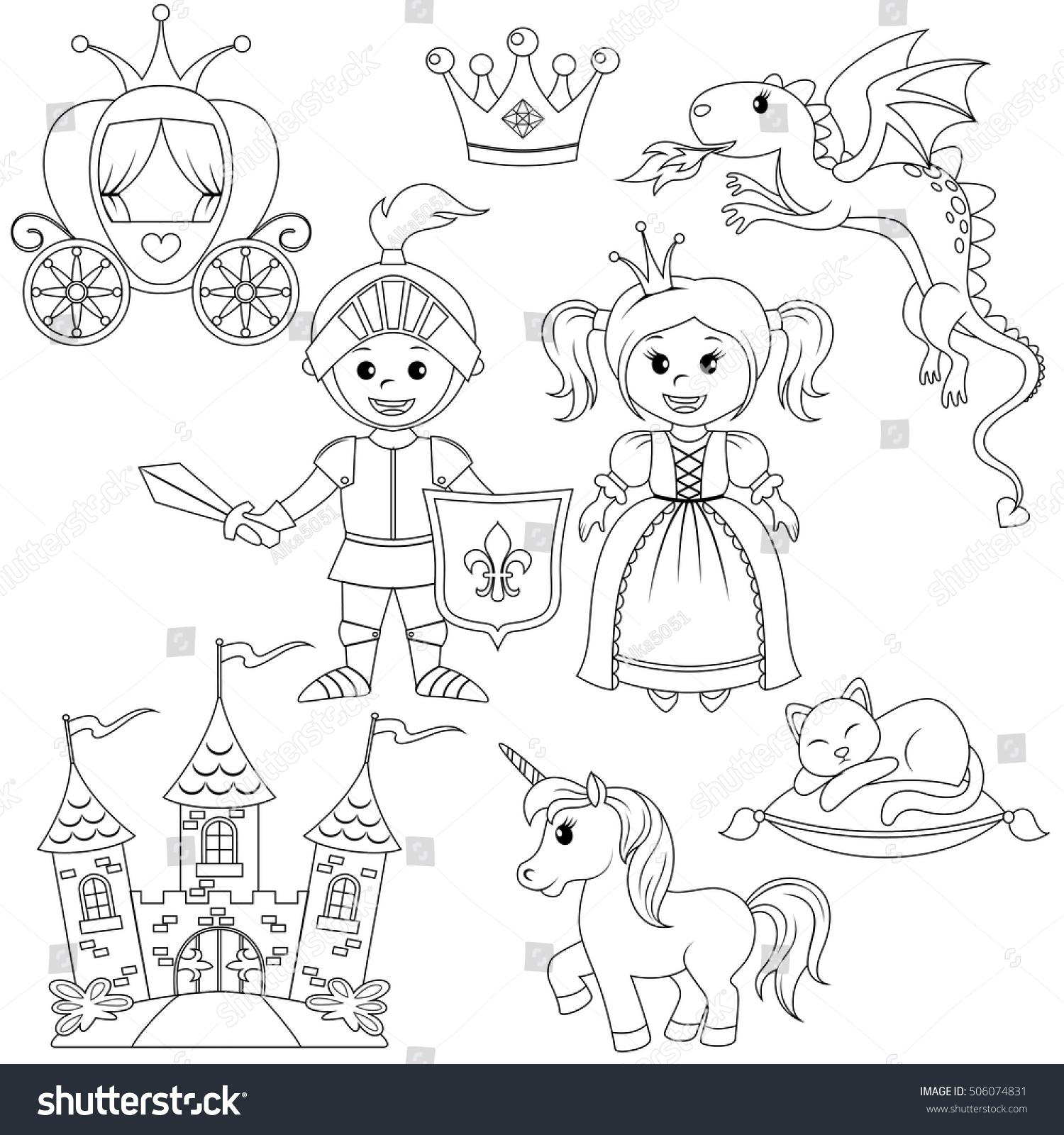 Coloring book princess crowns - Fairytale Princess Knight Castle Carriage Unicorn Crown Dragon Cat