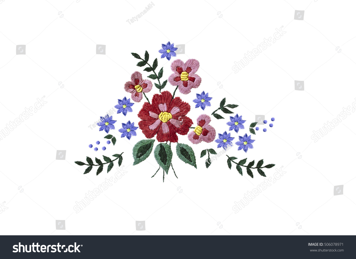 Embroidery bouquet red purple flowers leaves stock photo